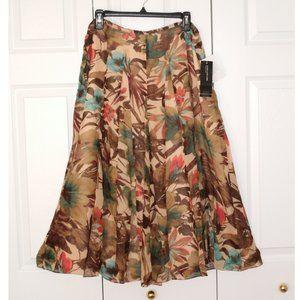 Jones New York Long Silk Brown Floral Skirt, sz 12